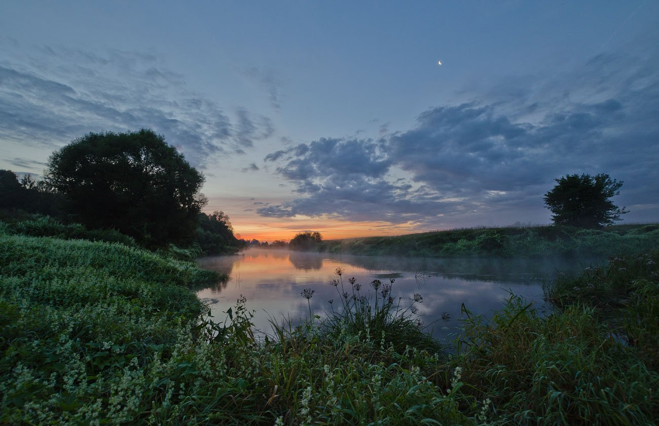 утро рассвет пейзаж река упа якшино, Михаил Агеев