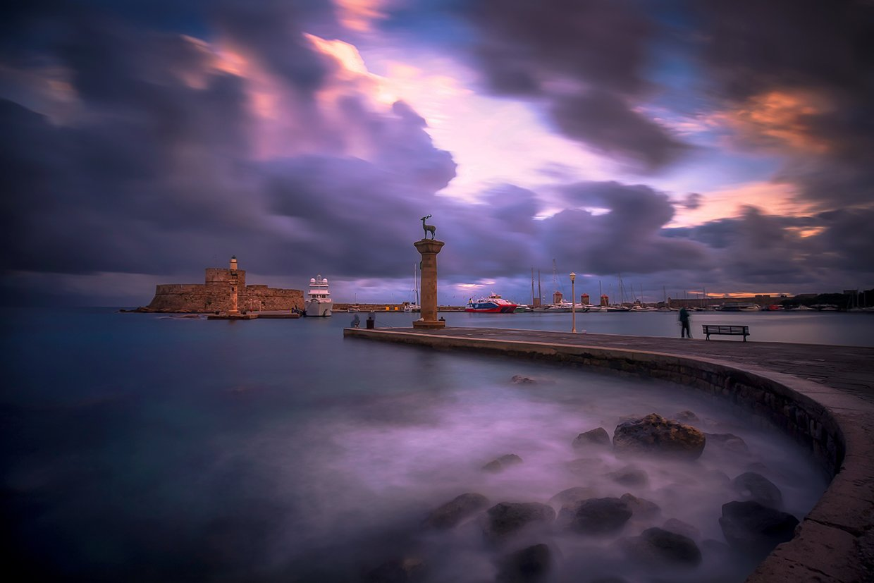greece, rhodes, island, long exposure, sea, aegean, sunrise, port, winter, water, aegean sea, town, blue, travel, light, architecture, reflection, old, Konstantinos Lagos