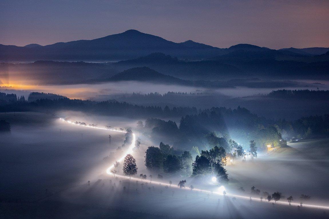 lights, car, morning, mist, fog, night, czech republic, bohemian switzerland, mountains, hills, moody, atmosphere, Martin Rak