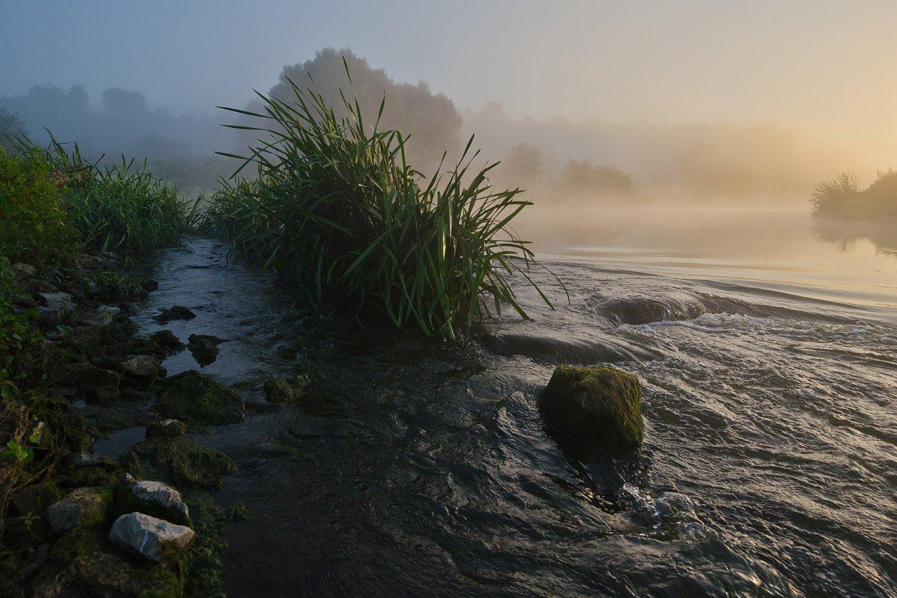 утро, рассвет, пейзаж, река, упа, якшино, перекат, Михаил Агеев