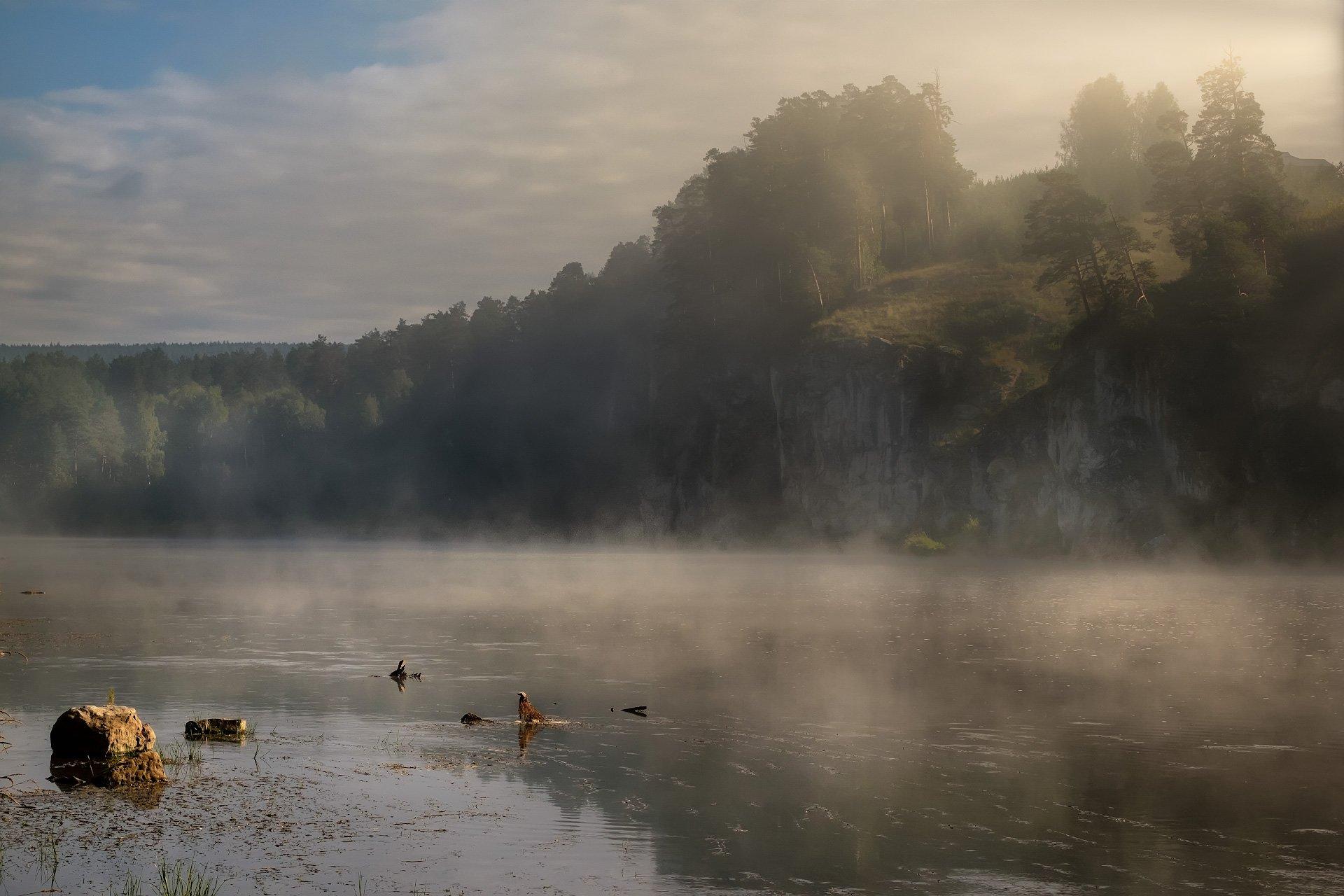 пейзаж, урал, ай, река, утро, туман, скалы, Андрей Чиж