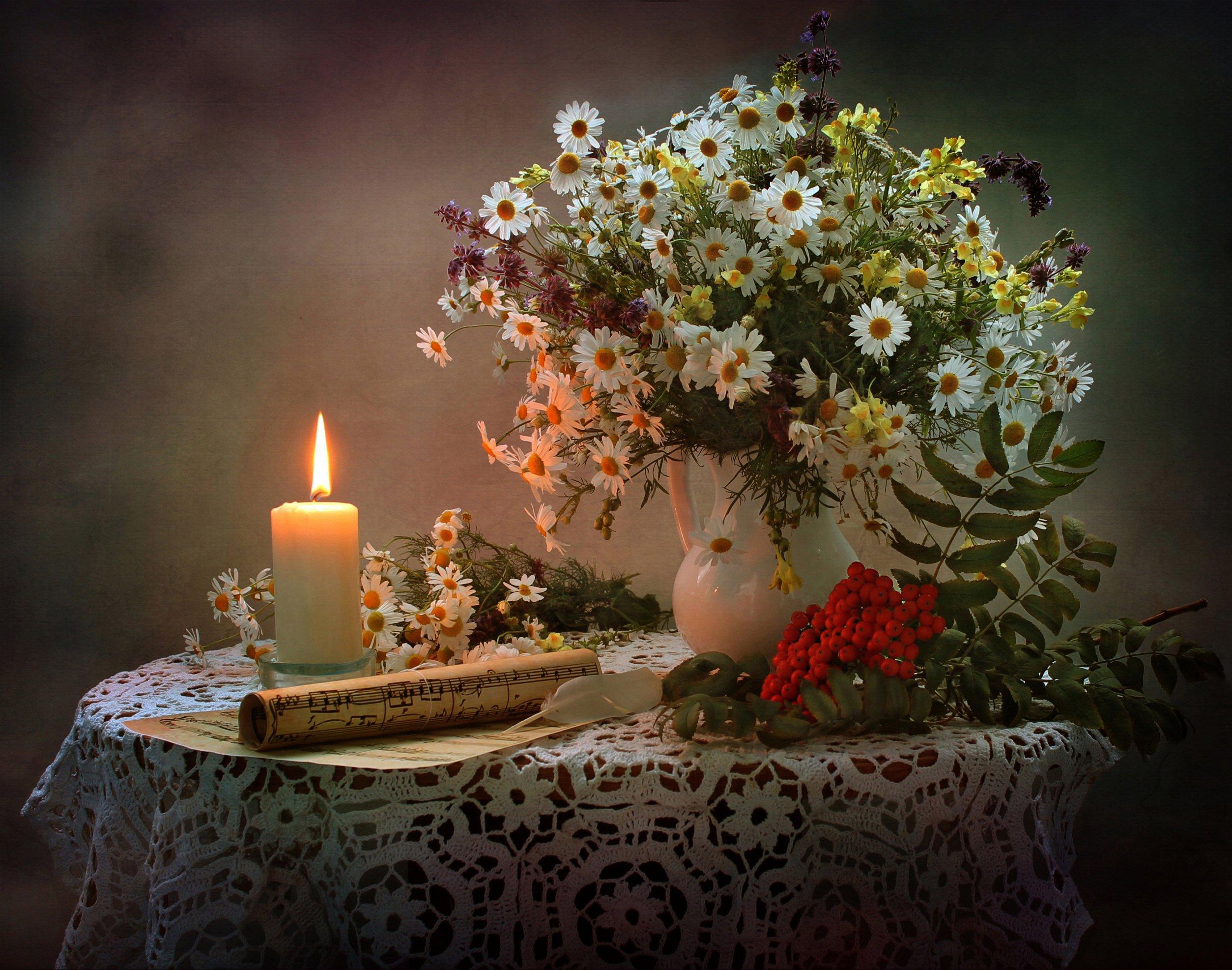 натюрморт, осень, букет, ромашки, свеча, ноты, Ковалева Светлана