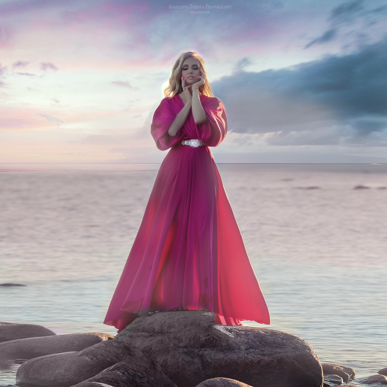 закат, море, штиль, девушка, Анастасия Тордуа