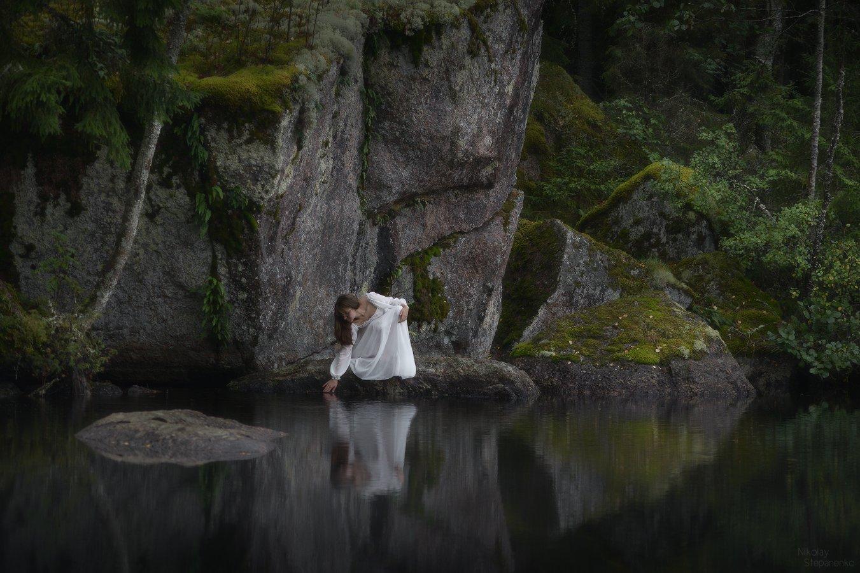 выборг, ленинградская область, скалы, озеро, отражение, сентябрь, тайга, Николай Степаненко