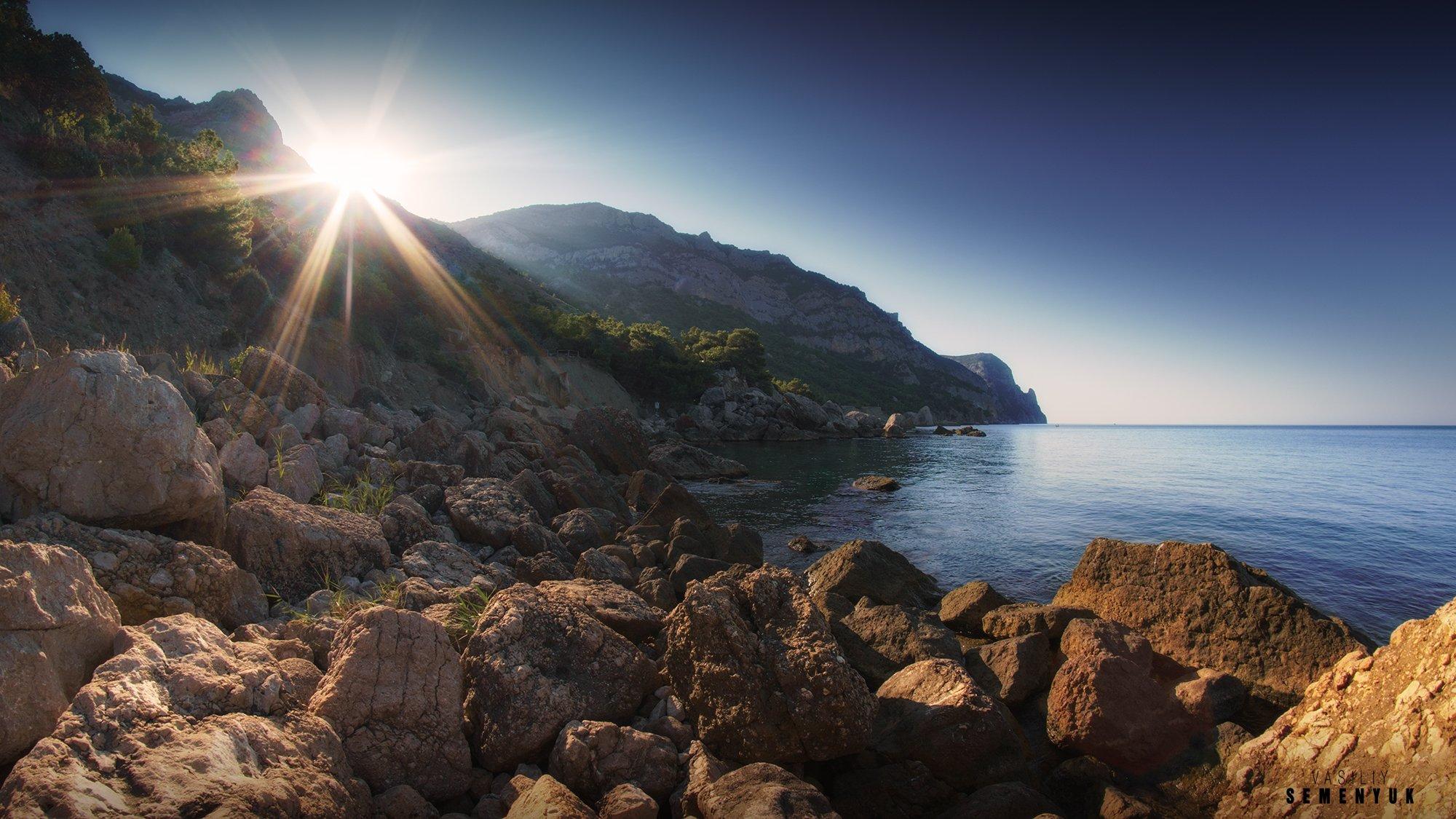 крым, чёрное море, балаклава, инжир, пляж, солнце, рассвет, лето, камни., Семенюк Василий