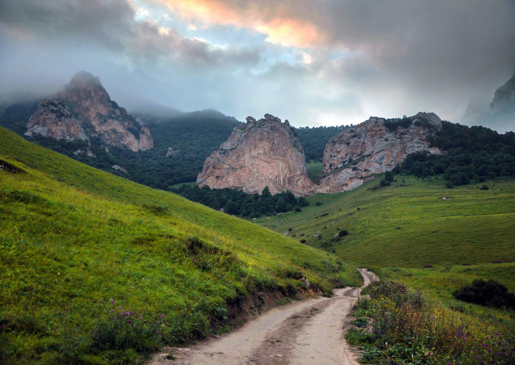 горы,лето,пейзаж,туман,чегем,балкария, Марат Магов