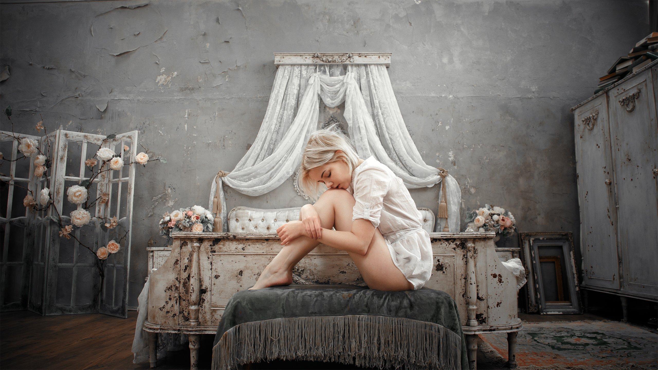 girl, model, portrait, bedroom, bed, light, silence, peace, blonde, retro, grunge, russia, девушка, модель, портрет, спальня, кровать, свет, тишина, покой, блондинка, ретро, грандж, россия, Васильев Андрей