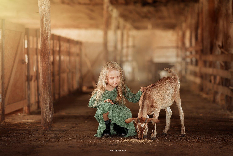 деревня, ферма, девочка, лето, козочка, козленок, girl, summer, друзья, happy, happiness, village, goat, farm, Юлия Сафонова
