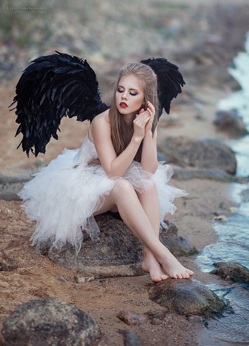 Крылья, ангел, море, камни, темный ангел, Шиленок Елена
