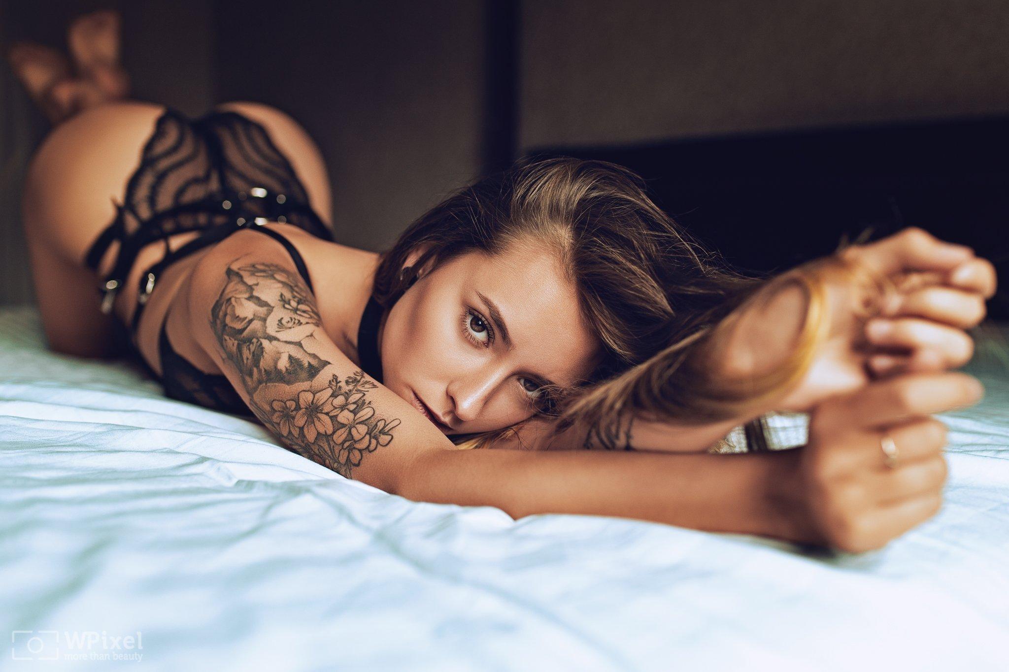 portrait women brunette lingerie eyes sexy, Wojtek Polaczkiewicz