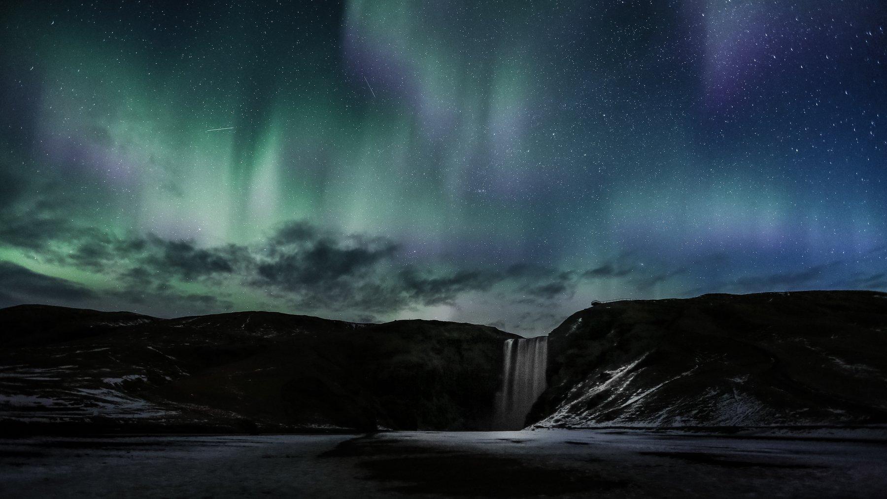 водопад,skogafoss,исландия,пейзаж,северное сияние, Ruslan Stepanov