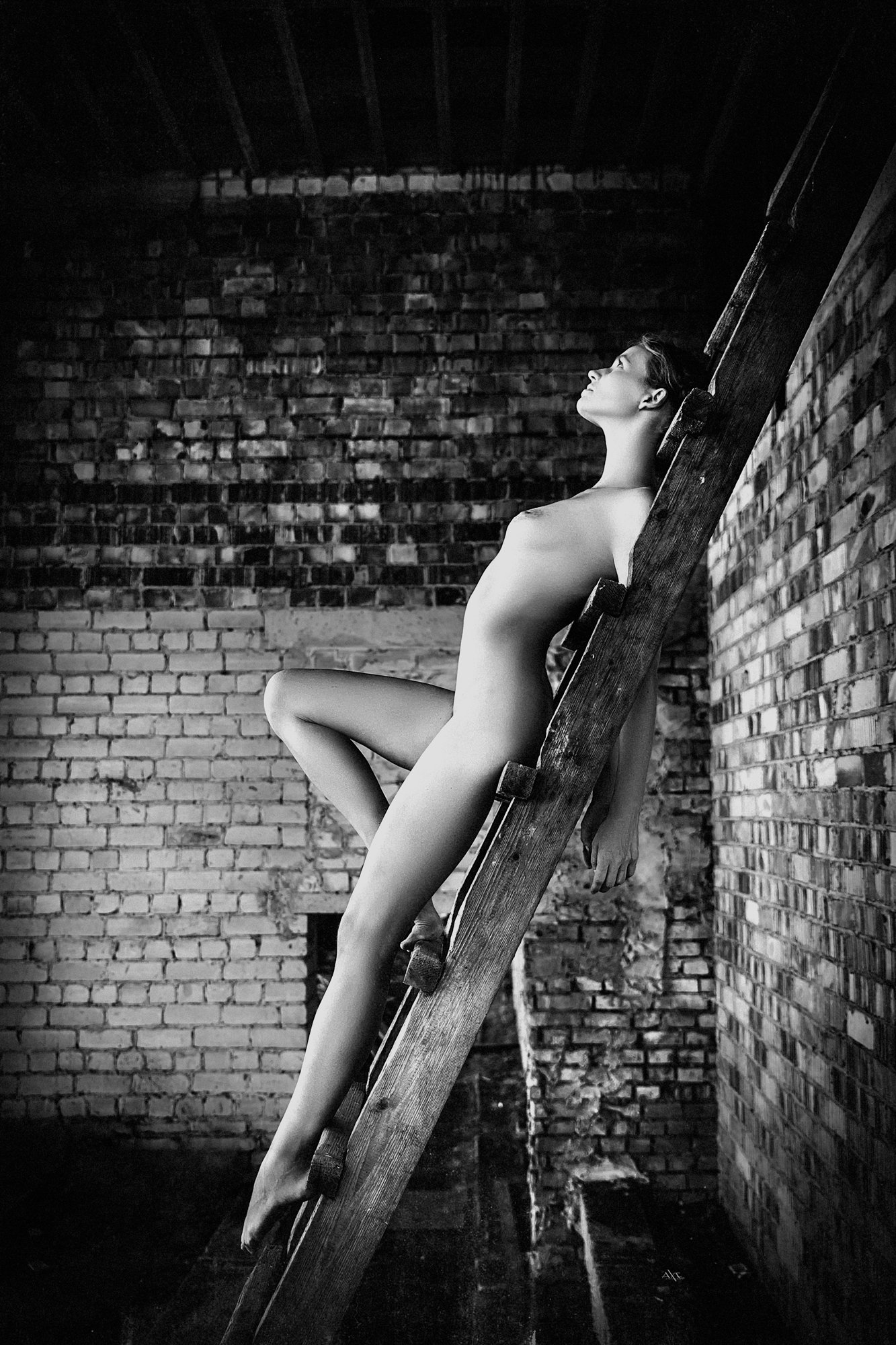 woman, nude, art, natural light, stairs, abandoned, black and white, Руслан Болгов (Axe)