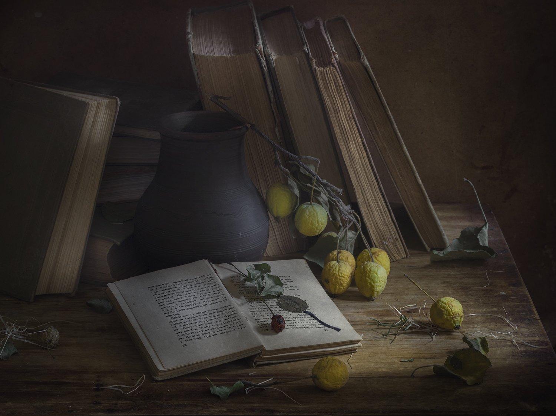 натюрморт,яблоки,книги, Елена Рубинская