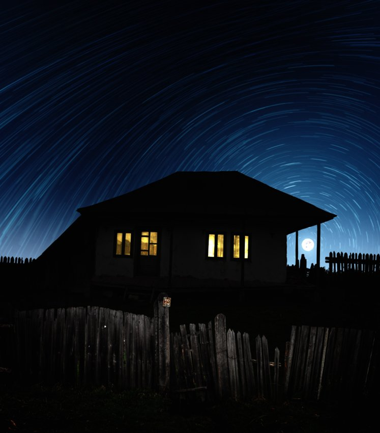 house, abandoned, night, star, trail, circle, light, inside, fence, moon, Caras Ionut