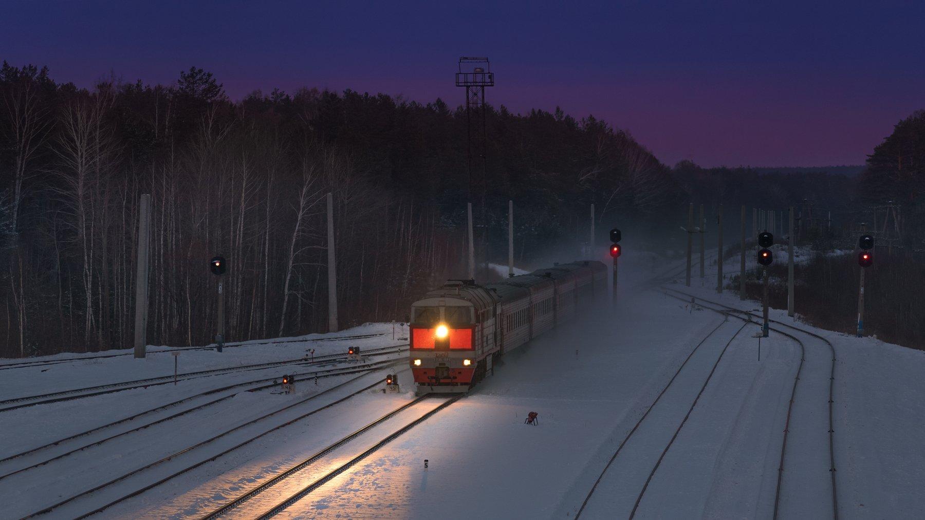 жд, железная дорога, поезд, россия,  пейзаж, skrylov, skrylov_official, зима, 2тэ116, стриганово, закат, снег, пассажирский поезд, свердловская область, Сергей Крылов