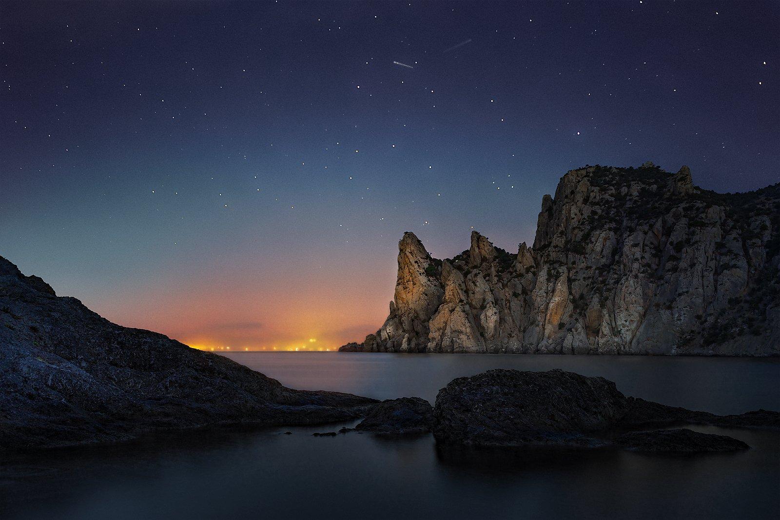 рассвет, ночь, караул-оба, новый свет, судак, звезды, гора, Макс