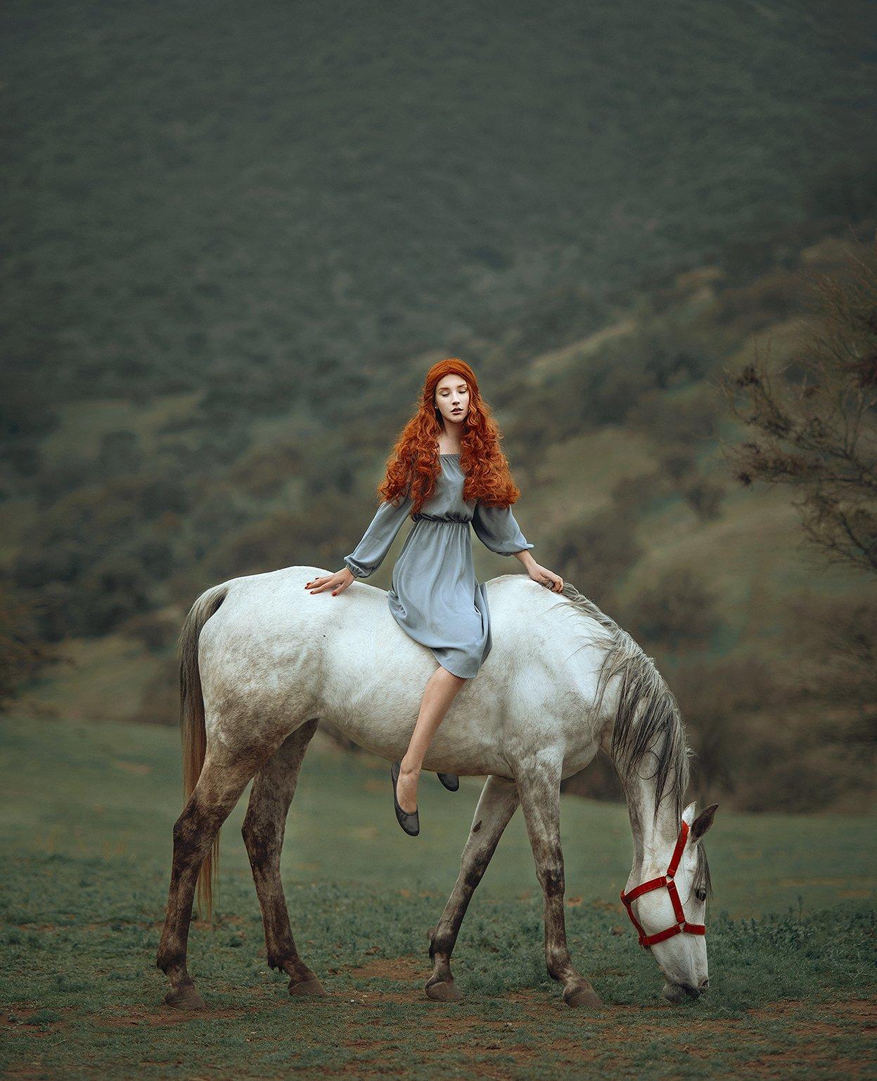 лошадь, рыжие волосы, девушка, Amina Donskaya
