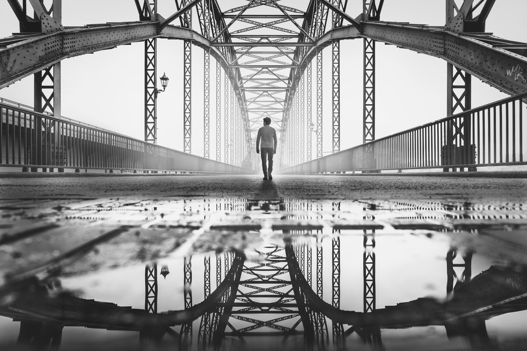 hamburg, germany, bridge, reflection, puddle, water, rain, urban, street, people, Alexander Schönberg