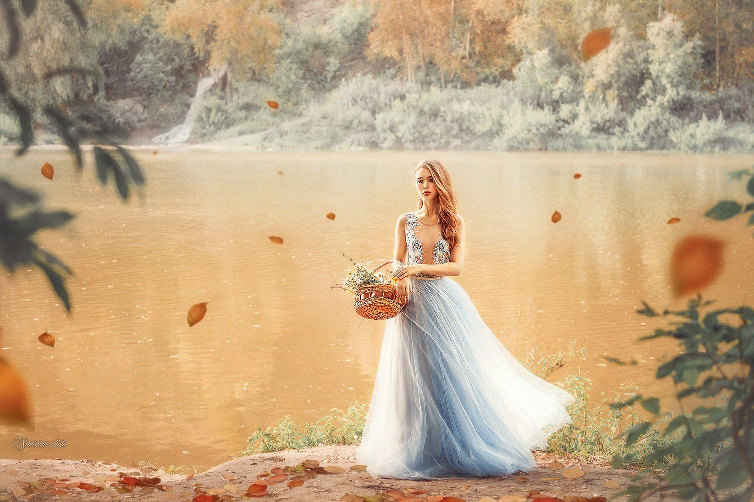 девушка, портрет, платье, осень, girl, portreit, autmn, blue, dress, Марина Семёхина