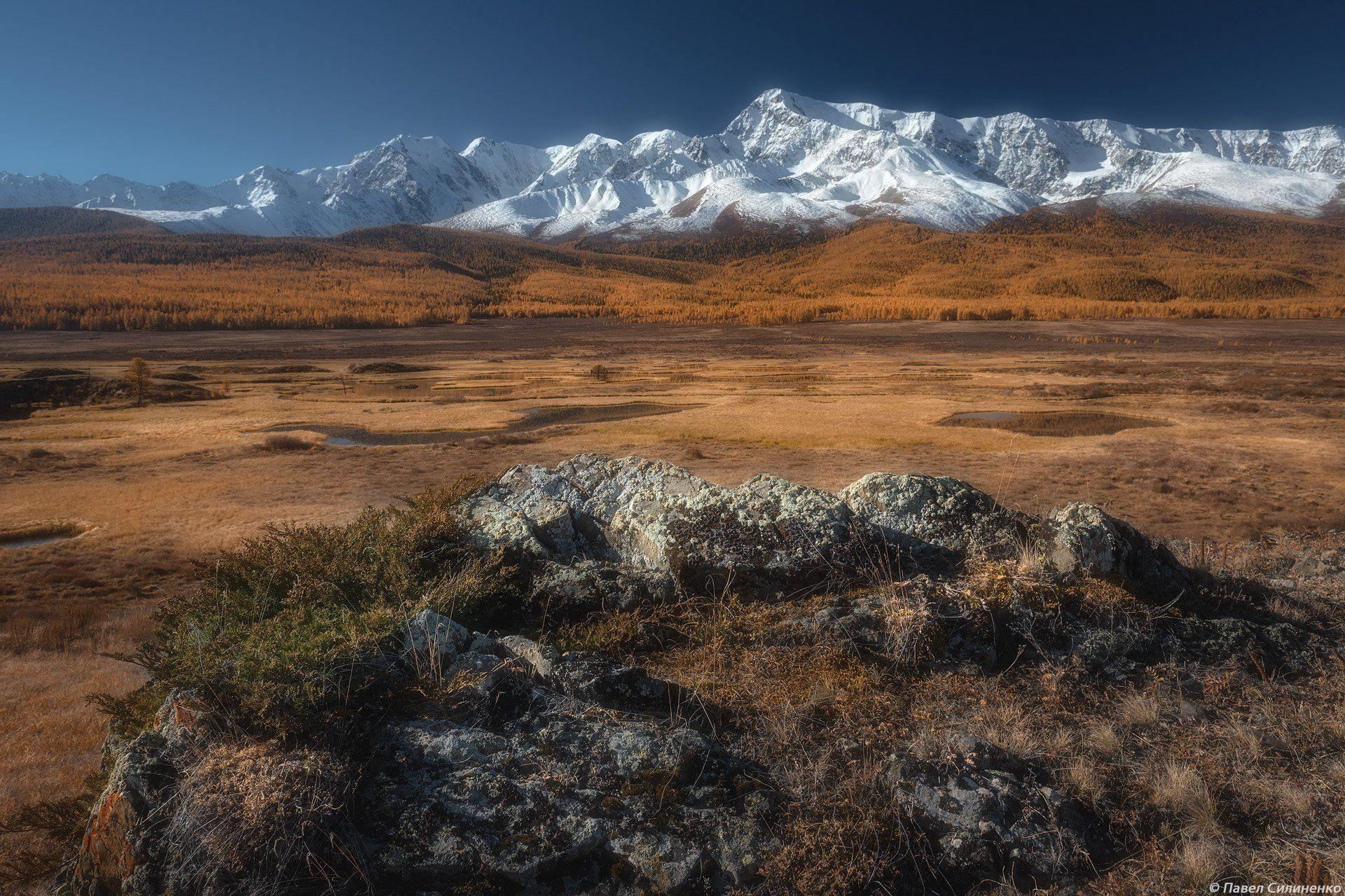 пейзаж, алтай, горы, осень, скалы, утро, Павел Силиненко