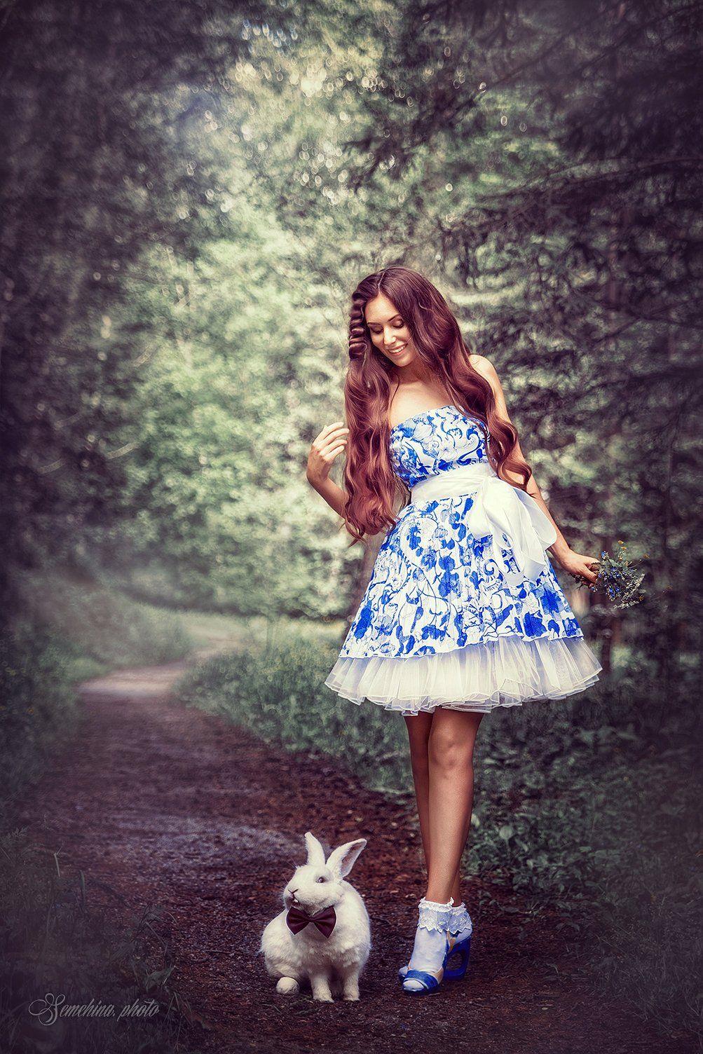 девушка, портрет, кролик, алиса, сказка, тропинка, лес, girl, portreit, rabbit, fairy tale, path, wood, Марина Семёхина