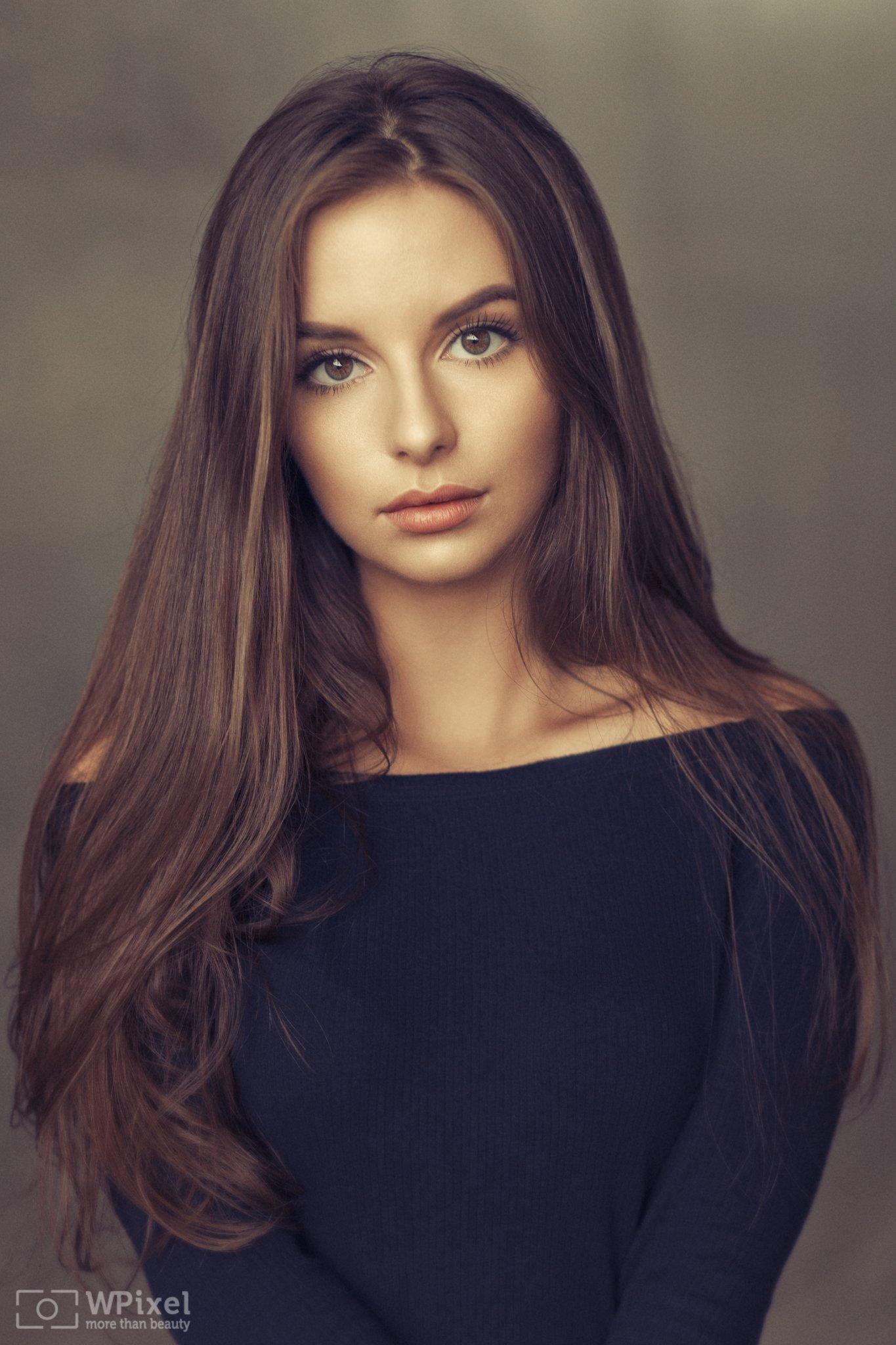 portrait women eyes brunette, Wojtek Polaczkiewicz