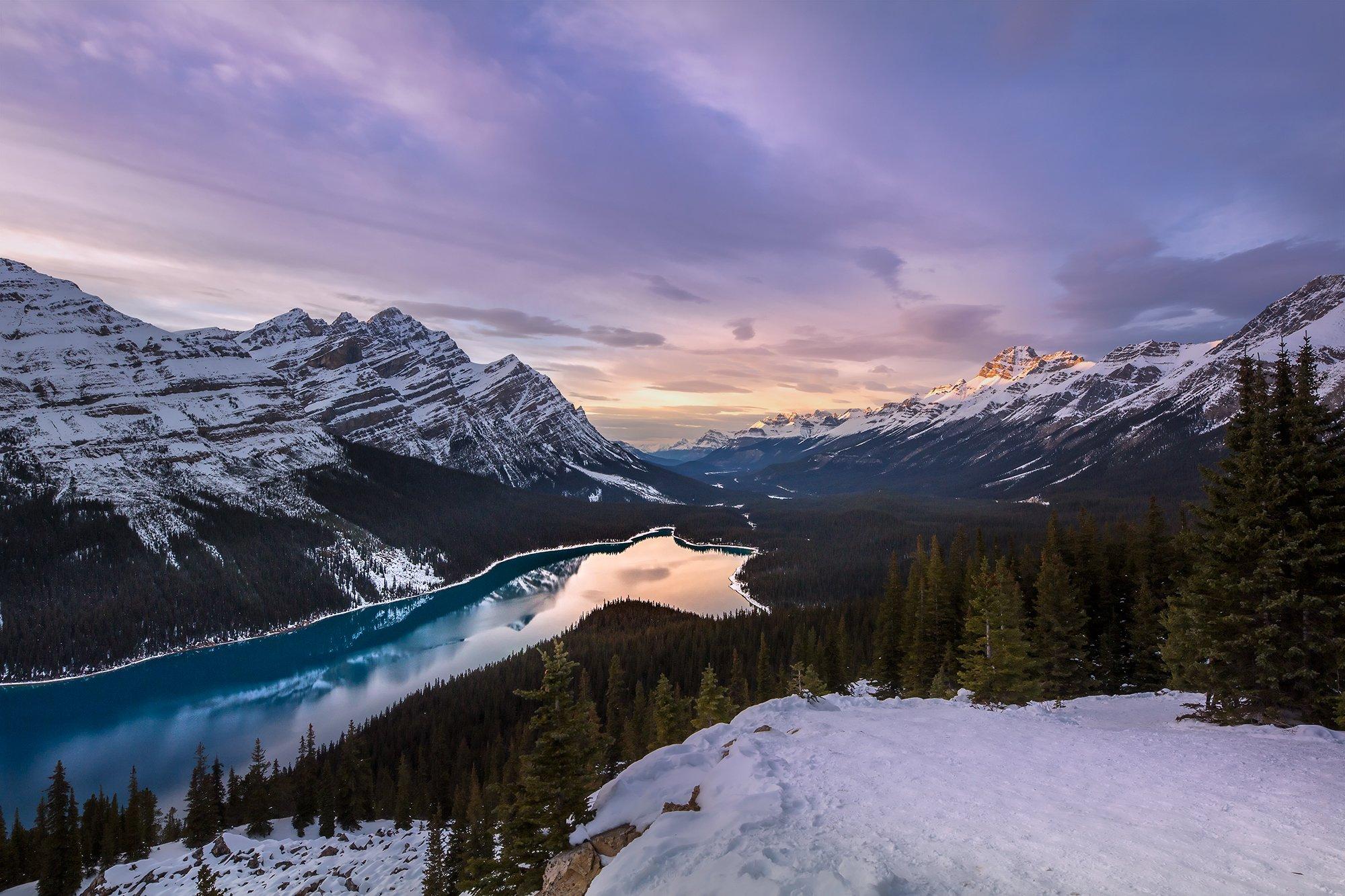 peyto, lake, banff, sunset, mountains, Evgeny