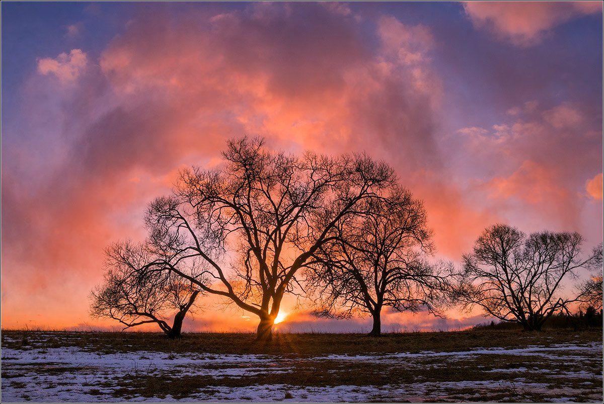 зима, закат, верхнедвинск, беларусь, Andrew Kuzmin