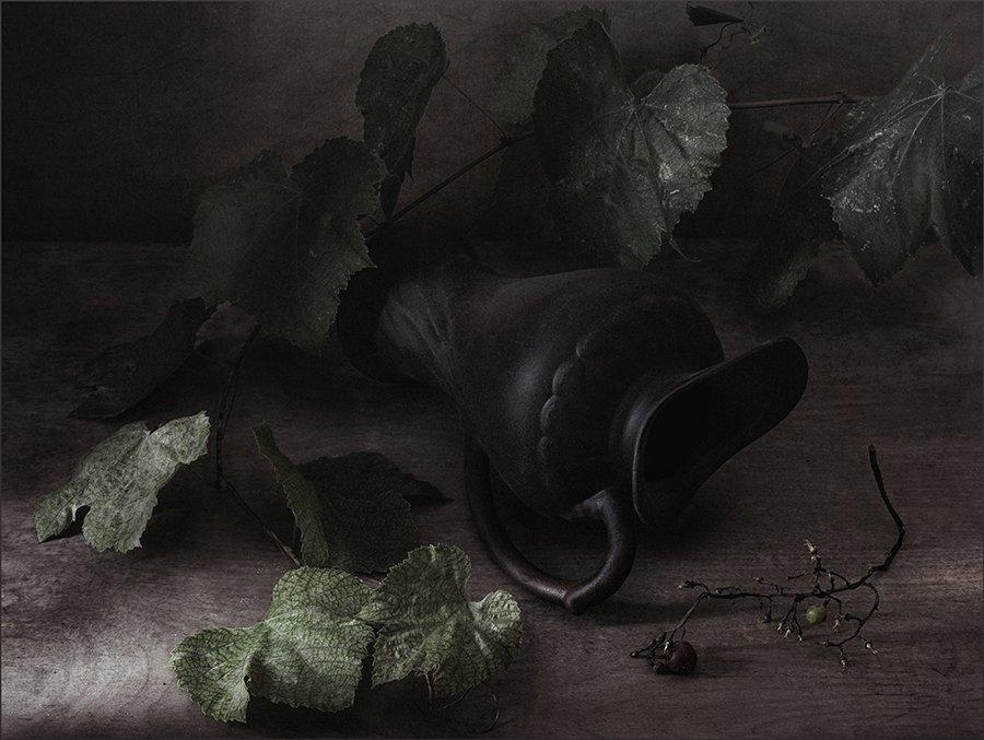 кувшин, виноград, лоза, гроздь, натюрморт, Андрей Угренинов