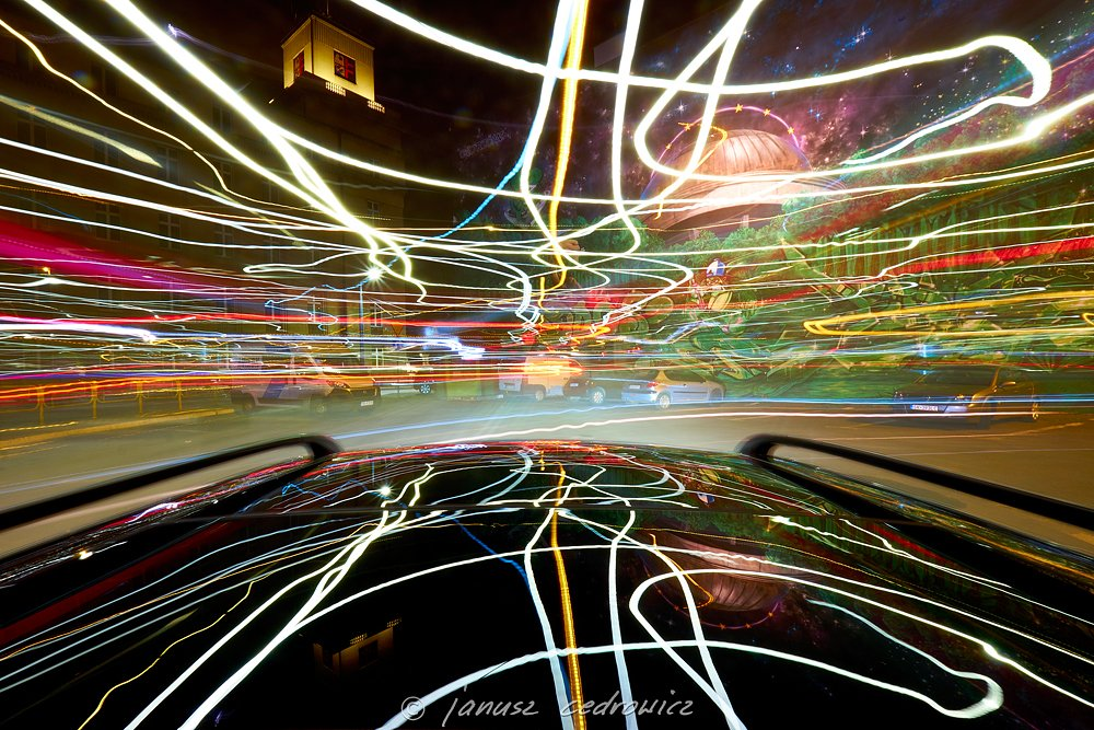 drive,light,lights,lines,tangled,speed,street,city,night,road,car,mirror,colors,colorful,buildings,architecture,citycenter,joyride, janoo