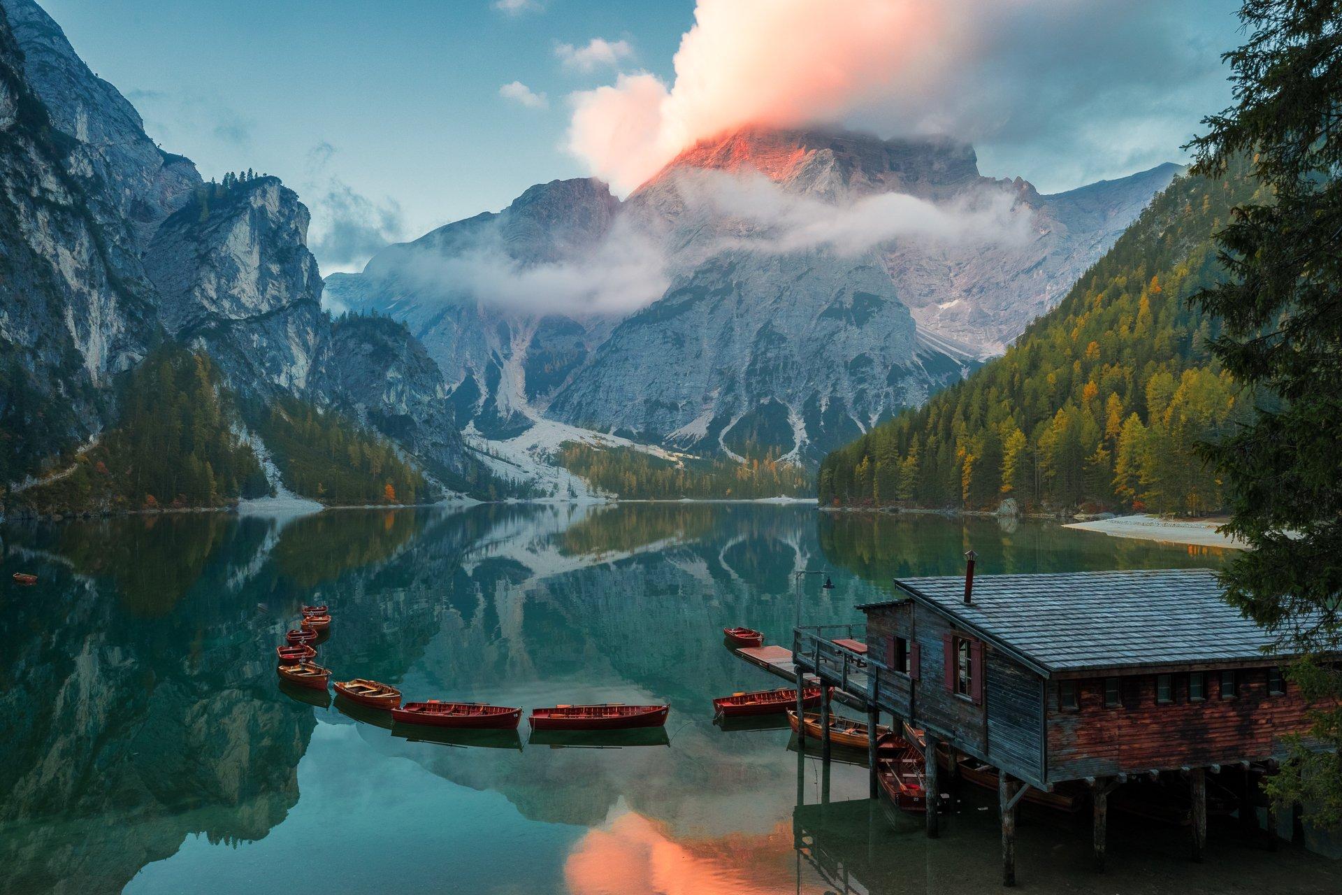 италия, доломиты, озеро, отражение, рассвет, осень, брайес, Marina Malikova