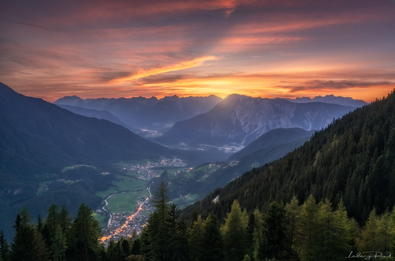 achbergalm, after sunset, alps, austria, austrian alps, envening, evening glow, fir, fir-tree, forest, gloe, imst, lake, lake pipurg, larch, larch trees, lights, meadows, mountain glow, mountain range, mountains, nature, oetz, oetztaler ache, outdoor, pin, Ludwig Riml