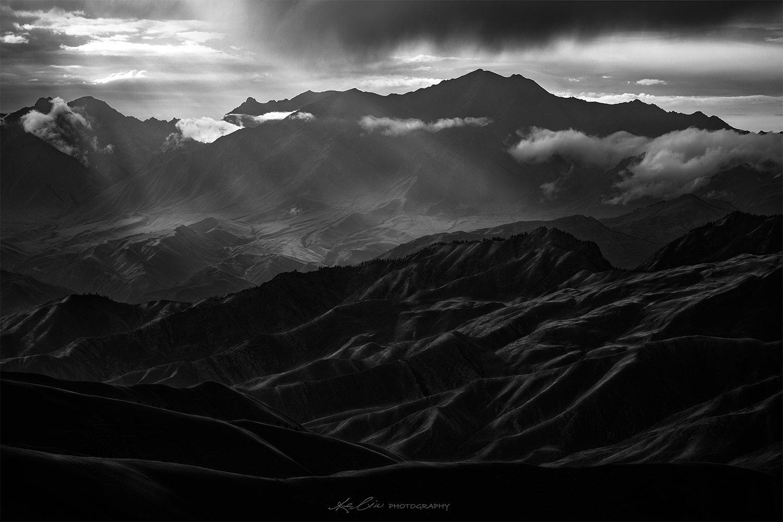 landscape, black&white, storm, mountain, texture, Ke Liu