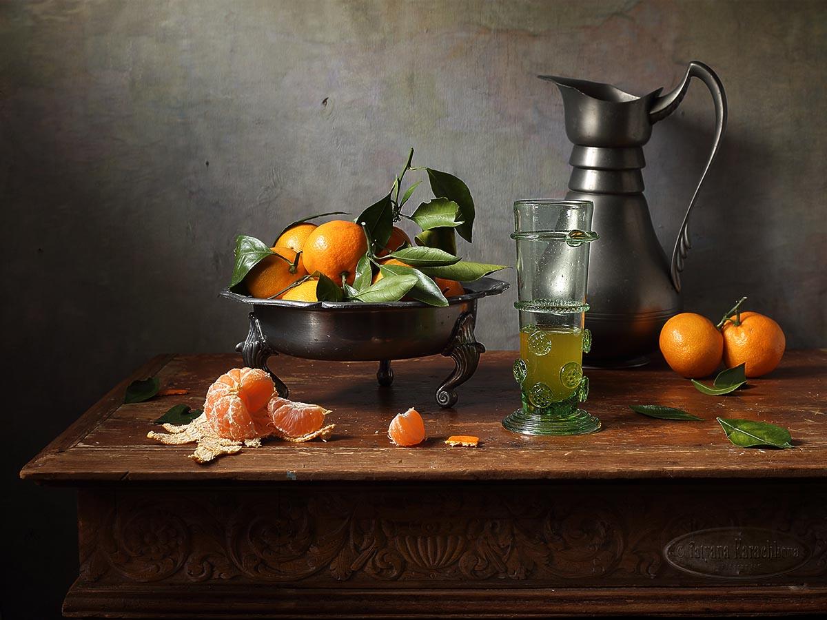 натюрморт, мандарины, сок, лесное стекло, Карачкова Татьяна
