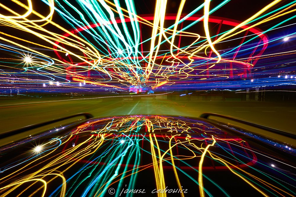 chorzow,silesia,poland,car,speed,drive,city,road,street,color,colorful,stadium,arena,football,joyride,mirror,night,light,lines,, janoo