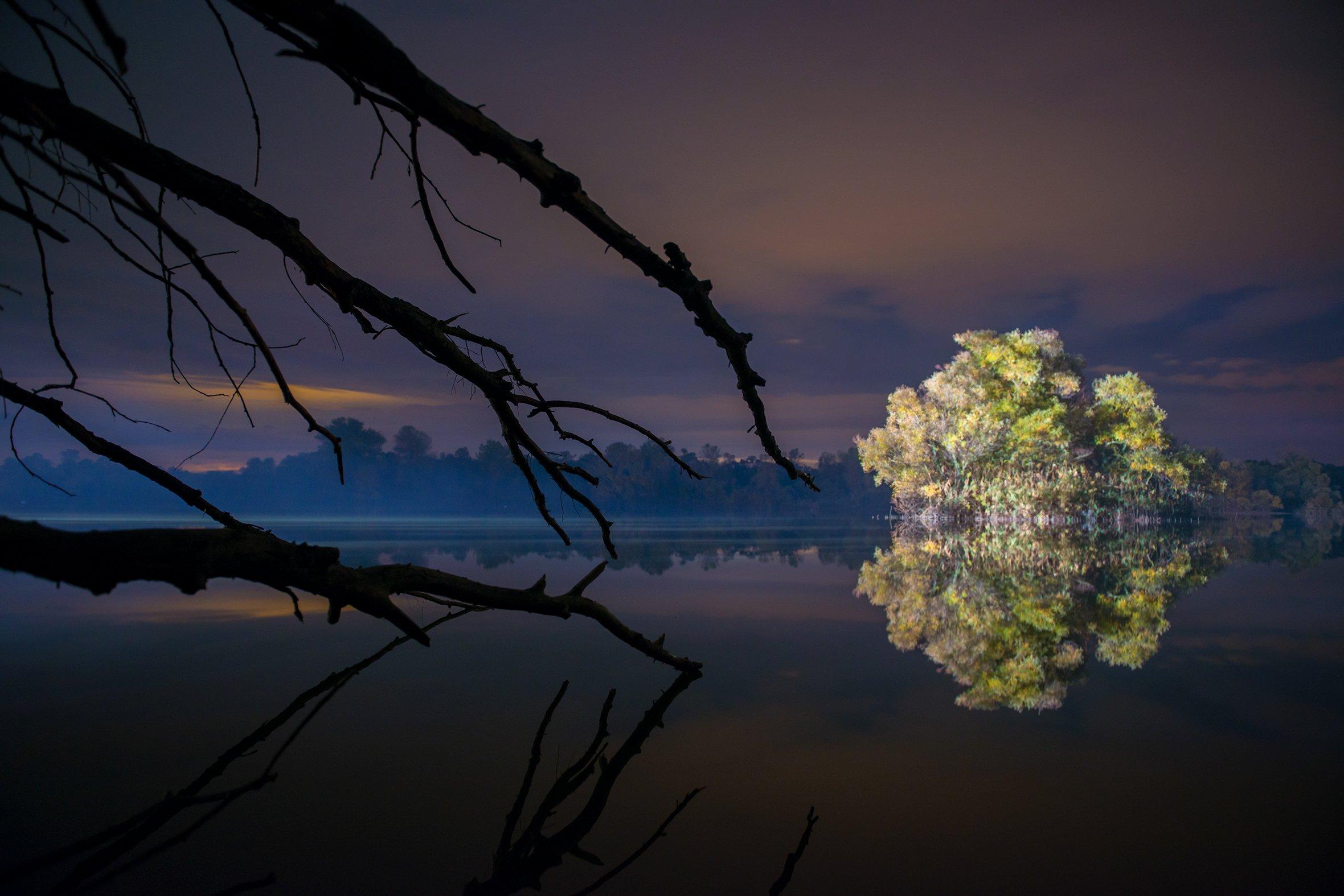 озеро, ночь, небо, деревья, вода, Геннадий Дьячук