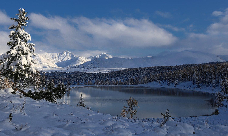сибирь, алтай, горный алтай, киделю, озеро, улаганский перевал, осень, снег, горы, природа, пейзаж, Галина Хвостенко