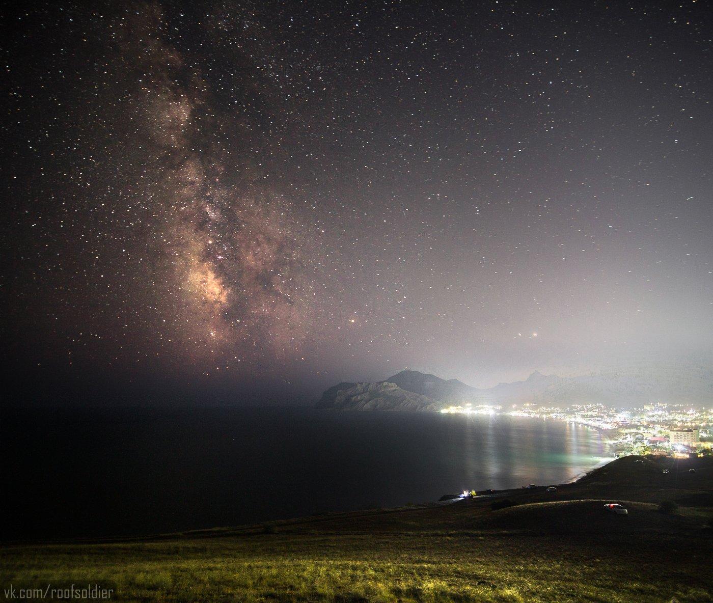 Ночь, звезды, млечный путь, небо, Крым, Коктебель, астрофото, выдержка, Голубев Алексей