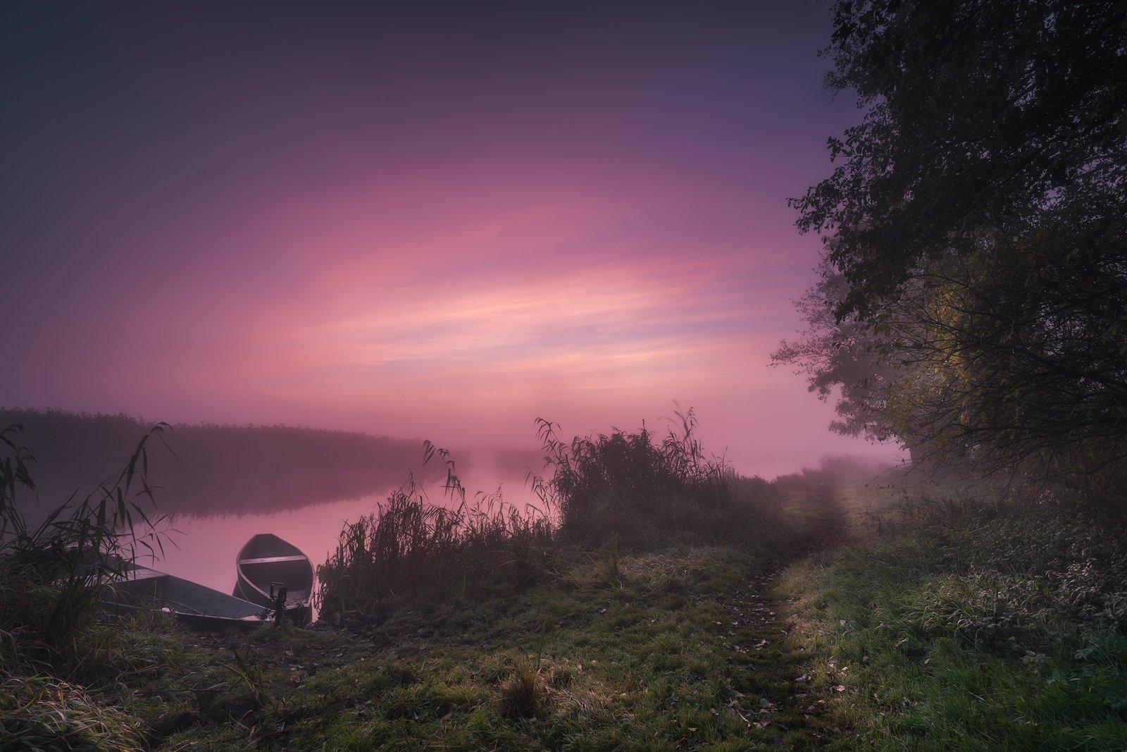 sky clouds fog river boats mist mood podlasie poland trees autumn, Maciej Warchoł