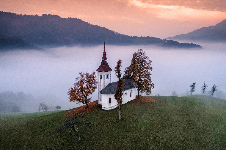 slovenia, словения, туман, утро, dji, phantom, Шевченко Юрий