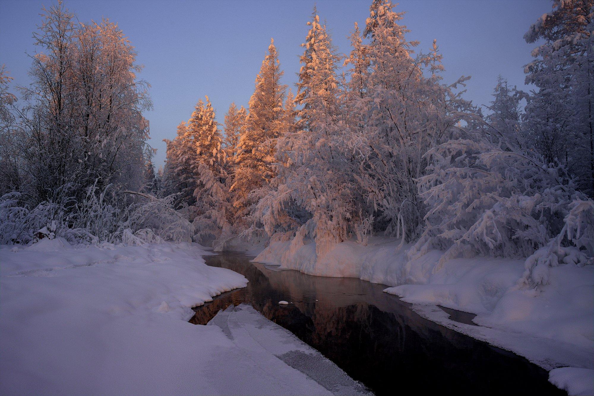 зима, холод, речка, снег, лед, якутия, ойиякон, полюс холода, природа, путешествия, Михаил Потапов