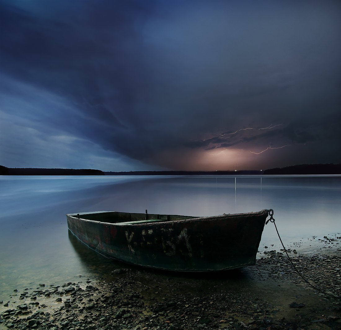 Lithuania, long exposure, boat, water, lightning, clouds, storm, sky, evening, lights, horizont, Mindaugas Žarys