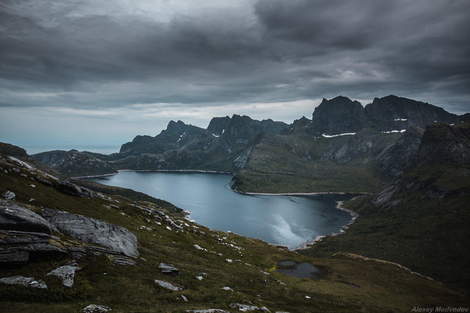 lofoten, summer, norway, cold, fjord, dark, rocks, mountains, lake, green, , Алексей Медведев
