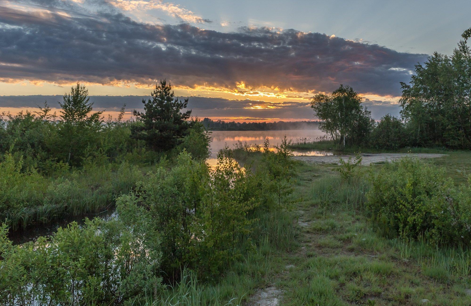 утро, рассвет, озеро, Евгений Патрешов