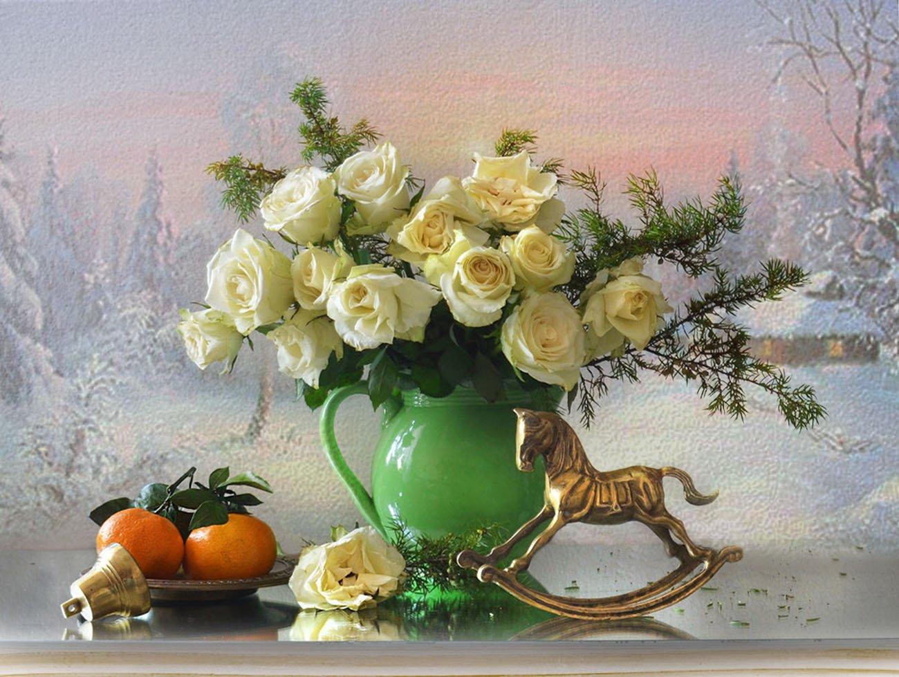 still life,натюрморт,фото натюрморт, зима, декабрь, розы, цветы, мандарины, статуэтка, бронза, Колова Валентина