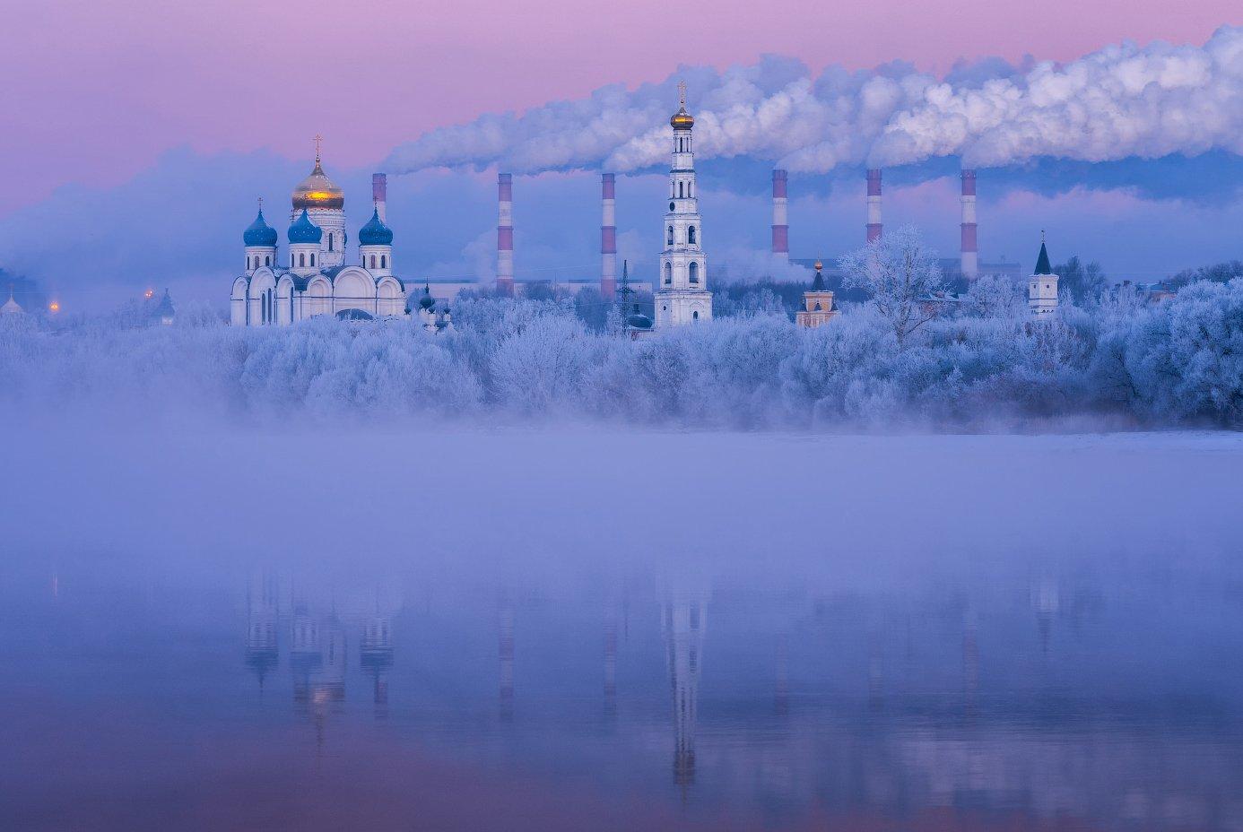 утро, рассвет, природа, туман, река, мороз, николо-угрешский монастырь, Виталий Левыкин