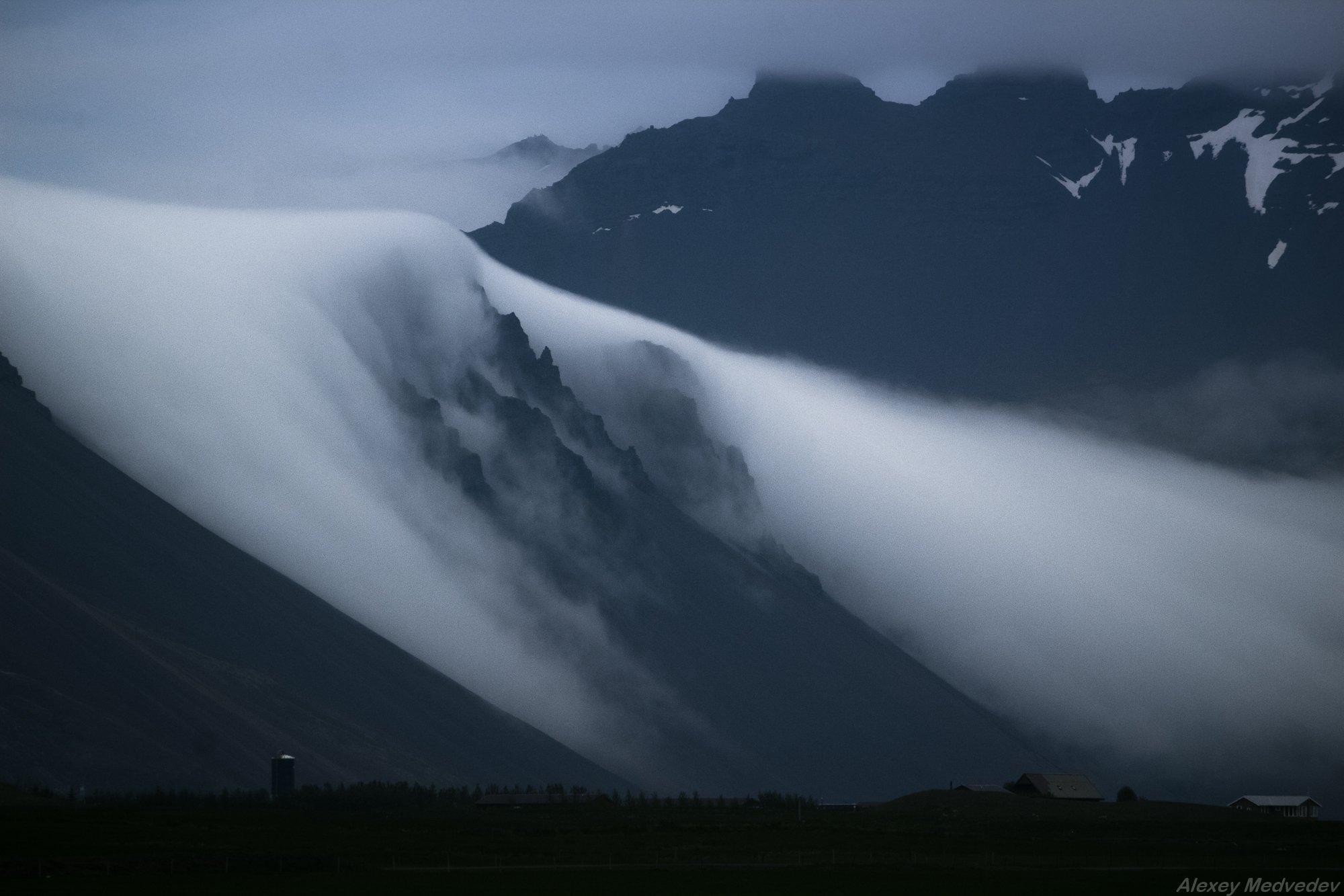 green,mountains,wild,north,iceland,southeast,nord,myths,hornafjorur, исландия, облако, горы, Алексей Медведев