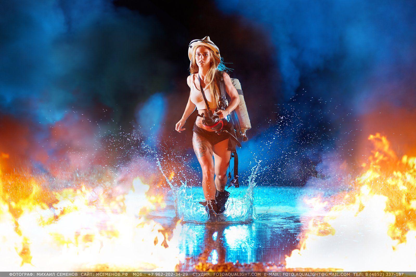 михаилсеменов, аквалайт, портрет, календарь, девушка, пожарный, модель, огнетушитель, огонь, вода, бежит, пламя, фаэкс, Михаил Семенов