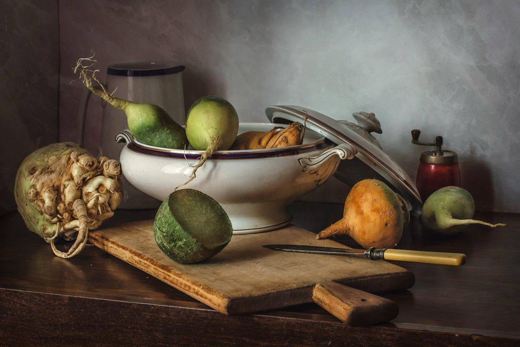 натюрморт, фарфор, овощи, сельдерей, редька, репа, Анна Петина