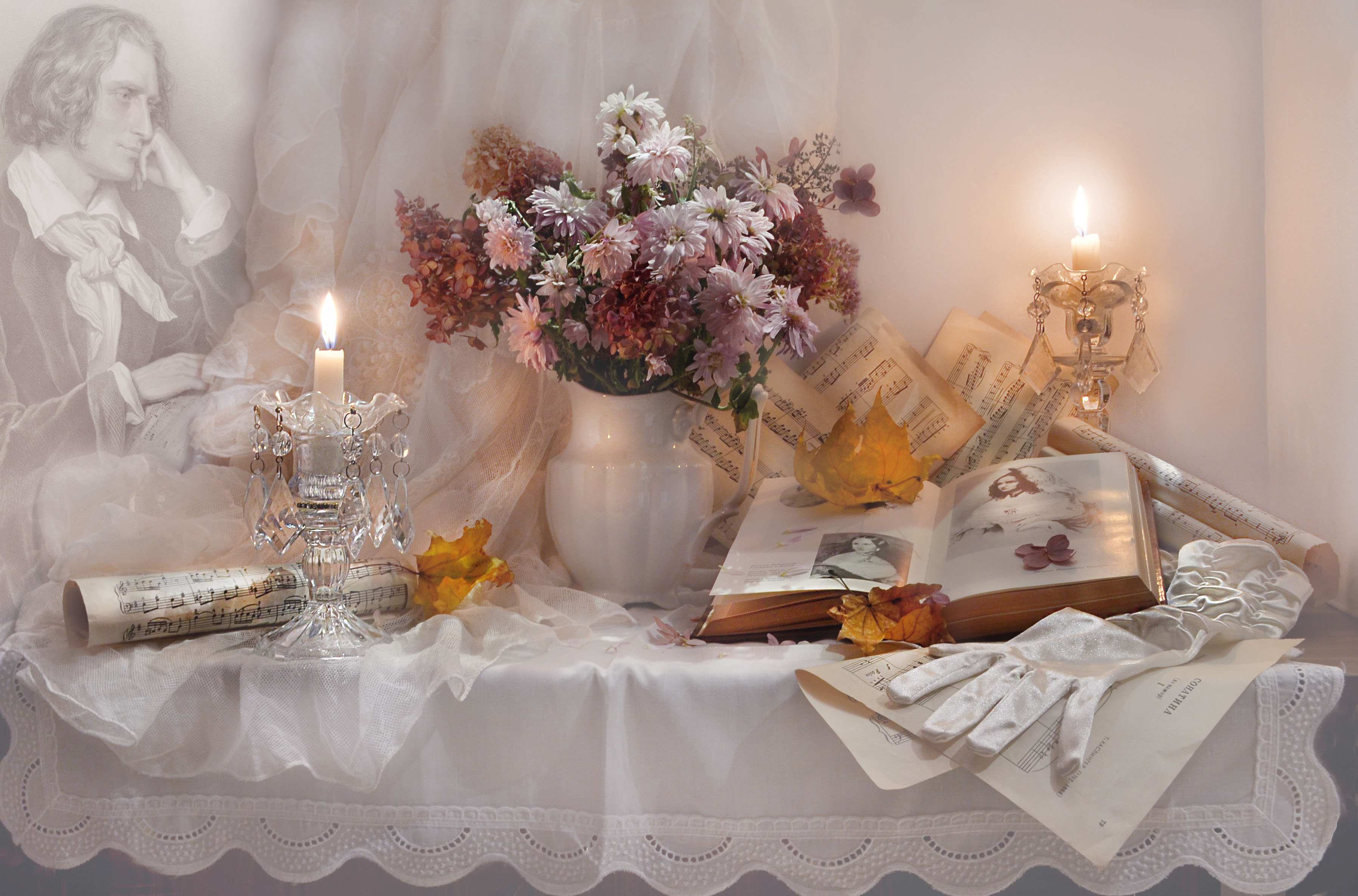 still life,натюрморт,, цветы,фото натюрморт,декабрь, зима, ференц лист, композитор, свечи, подсвечники, ноты, книга, стихи, перчатки, листья, хризантемы, Колова Валентина